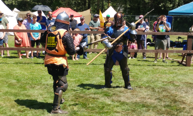 Knights line up against one another for combat