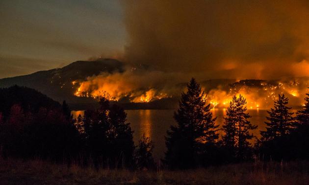 Wildfires raged around Moyie Lake in 2017.