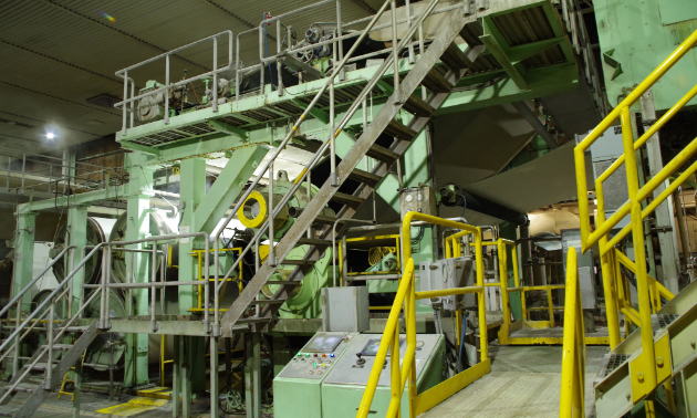 The wet pulp sheet travels through three press sections on the pulp machine to remove water prior to the pulp sheet entering the dryer. The sheet still contains approximately 53 to 55 per cent water by weight.