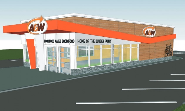 An artist's rendition of the new A&W building in Revelstoke.