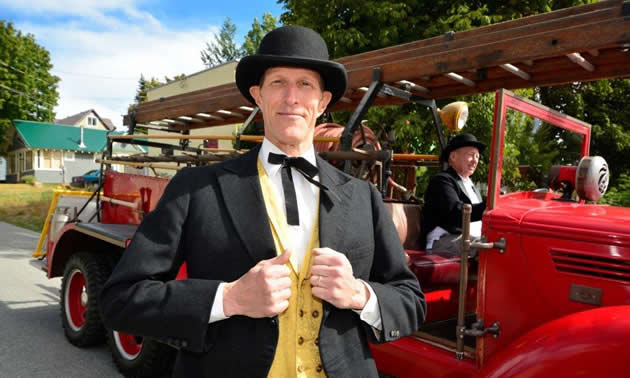 Aaron Cosbey, internationally recognized development economist, took part in the Golden City Days Parade in his role as city councillor for Rossland, B.C.