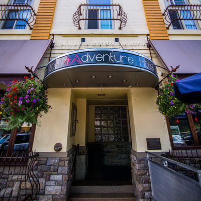 The charming and contemporary Adventure Hotel is situated in a 103-year-old building on Baker Street in Nelson, B.C.