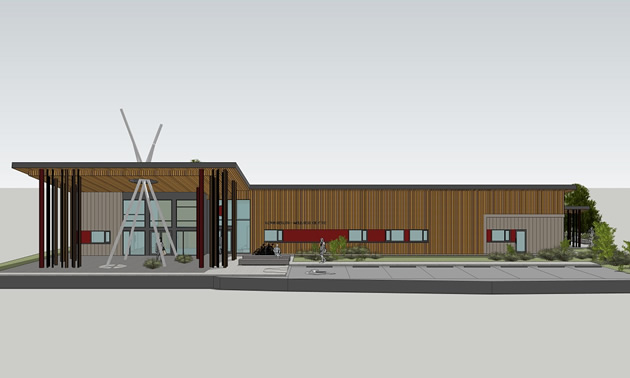 Artist rendering, ?aq?am Health and Wellness Centre.