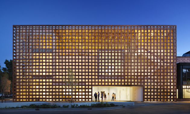 The Aspen Art Museum in Aspen, Colorado, has latice-like, woven wood cladding that admits light from all directions.