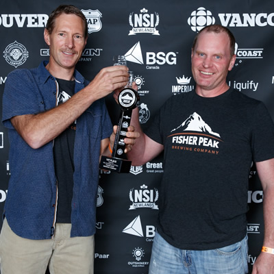 Jordan Aasland and Rusty Cox of Fisher Peak Brewing Company at the BC Beer Awards.