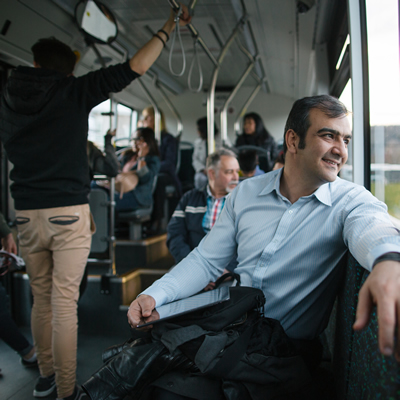 BC Transit passengers relax and take in the sights on a stress-free journey/commute.