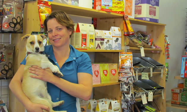 Maren Esch and her dog Rebel at Barkside Pets.