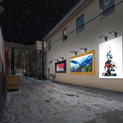 The Revelstoke Visual Arts Society will install artworks in alleyways, like this concept photo.