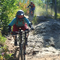 A couple of mountain bikers ride over a rock on the trail.