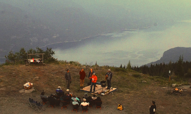 Mountaintop Music and Moonstories is a tour that features a magical moonrise evening of music and stories atop Mount Buchanan near Kaslo.