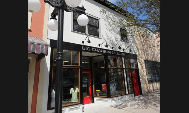 The storefront of Big Cranium Design is a refinished vintage building.