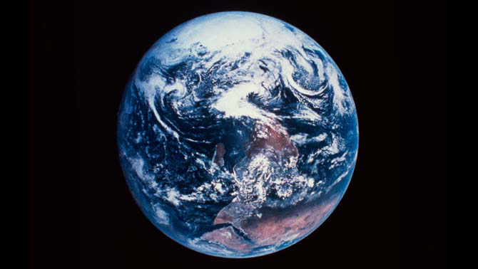 A photo of the Earth from space.