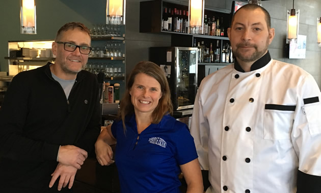 (L to R) Claude and Lillis Perreault and Fredrik Bergkvist are partner-owners of the Bridge Bistro in Fernie, B.C.