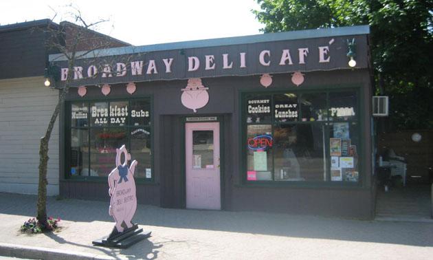 Storefront of Broadway Deli.