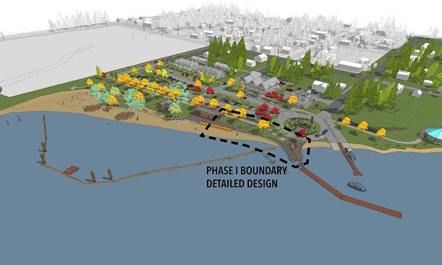 Rendition of work to be done at Village of Slocan waterfront.