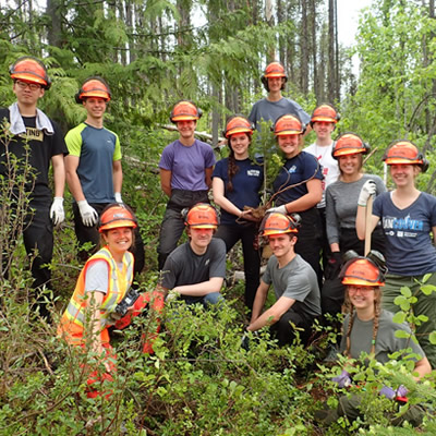 Group of students who worked on trails.