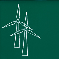Someone holds a chalkboard which fills most of the screen. On it are sketched two windmills.