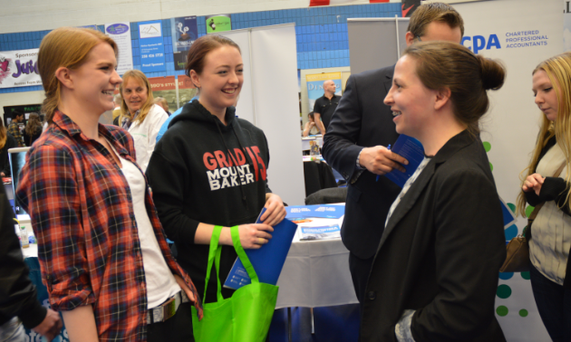 Students meet with employers during the College of the Rockies Career and Job Fair