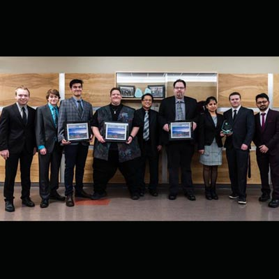 College of the Rockies Business students (l-r) Curtis Lutzke, Tyler Epp, Luis Galdamez, Matt Kitt, coach Butch Butalid, Bradley Schmidt, Gitanjali, Jordan Lydell, and Navjeet Vasudeva brought home four awards from the Western Canadian Business Competition held at Okanagan College in Kelowna.