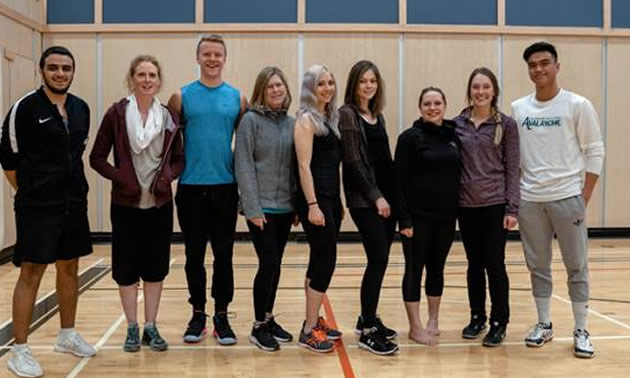 Eight College of the Rockies students have earned eligibility to be certified as Canadian Society for Exercise Physiology Personal Trainers. Pictured (l-r) Shady Shafik, Jani Vogell (instructor/examiner), Bradley Spurge, Jacqueline Adkins, Jessica Derheim, Andrea Older, Kat Wilkinson, Reanna Bonomo, Jireh Lastimosa.