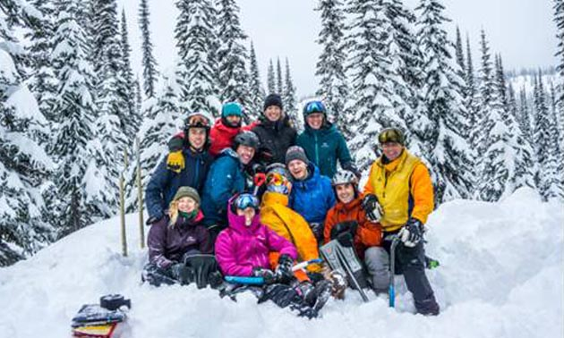 College of the Rockies Mountain Adventure Skills Training students conducted applied research on tree well extraction techniques under the supervision of instructor Brian Bell (front, second from right) and Rob Whelan from CHM Heli-Skiing & Summer Adventures (far right)