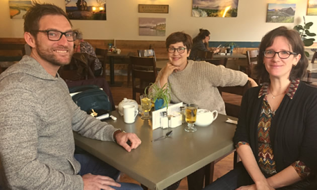 David Bonk, CEO, HomeFree Living was able to take his sustainable housing initiative to the next level thanks to research conducted by College faculty researcher Becky Pelkonen (centre), and overseen by Gaby Zezulka, Chair, Academic Innovation and Applied Research.