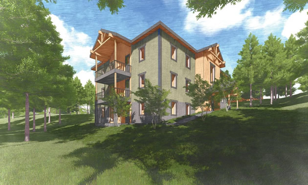 A conceptual drawing of one of five buildings that will make up the new College of the Rockies residence facility.