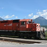 CP Rail engine near Golden, B.C.
