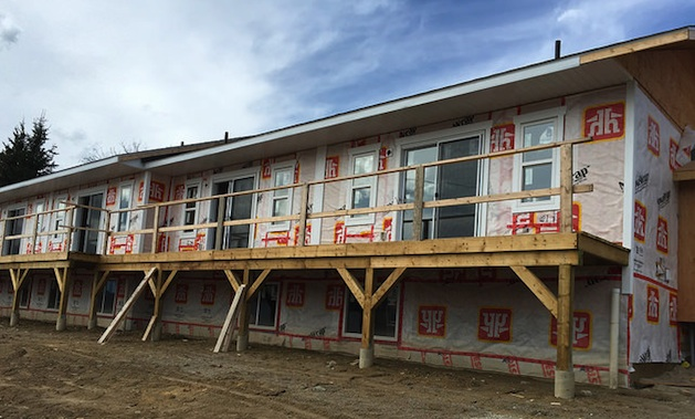 A view of the CVCHS project under construction from the outside.  The siding still needs to be added and the deck needs to be completed.