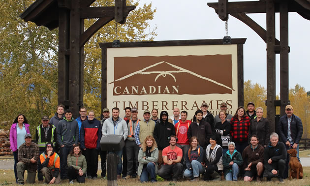 A group shot of the staff of Canadian Timberframes Ltd.