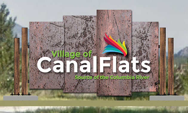 Rendition of Canal Flats sign.