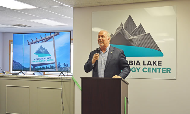Premier John Horgan was on hand for the historic announcement of the new data centre in Canal Flats.