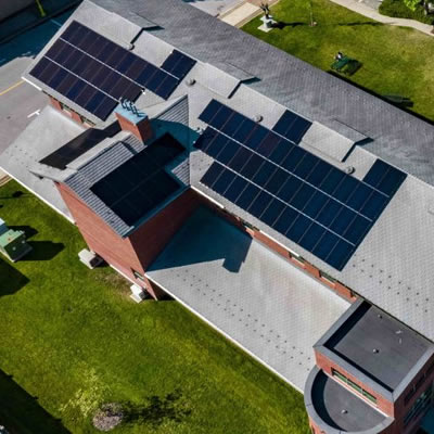 A solar array installed on the rooftop of Castlegar City Hall.