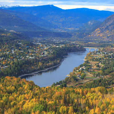 Aerial view of Castlegar in autumn.