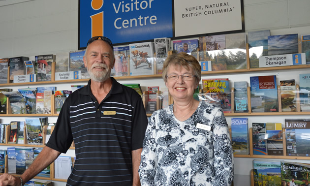 Don and Linda are part of the knowledgeable volunteer staff at the Cranbrook Visitor Centre.