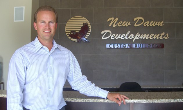 Chad Jensen. the president of New Dawn Developments, based in Cranbrook, B.C., at the New Dawn office