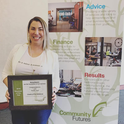 Community Futures Central Kootenay named Charlotte Ferreux its 2019 Volunteer of the Year.