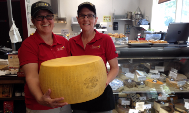 Joy Guyot (L) and Michelle Nagy-Deak are co-owners of the French Connection Cheese Club in Golden.
