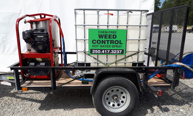 Chem-free weed machine, on small trailer.