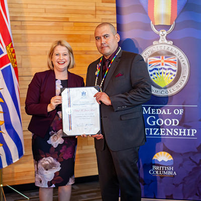 Lower Kootenay Band Chief Jason Louie receives the BC Medal of Good Citizenship.