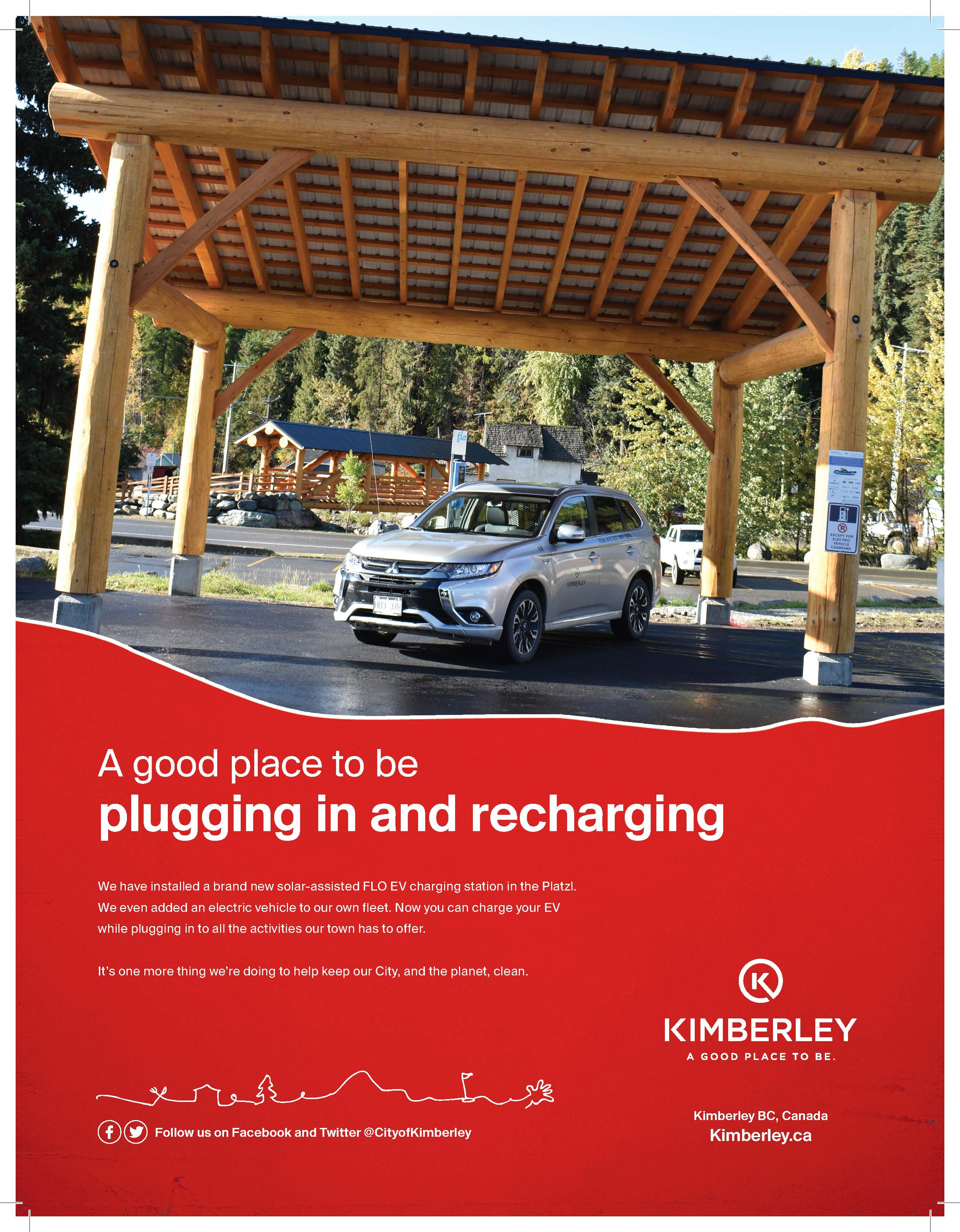 """Kimberley poster with electric vehicle and the headline """"A good place to be plugin in and recharging"""""""