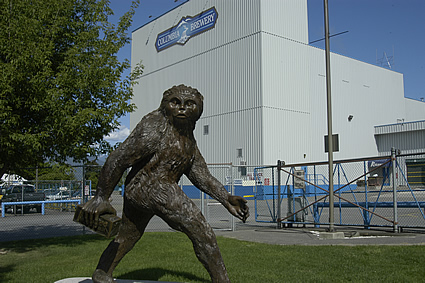 brewery building with sasquatch statue in front