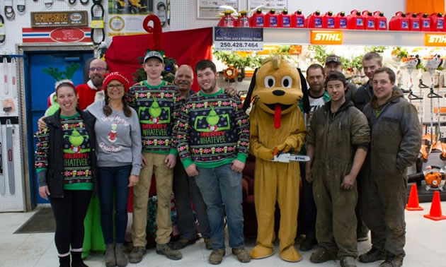 Staff of Comfort Welding in group photo taken at Christmas time.