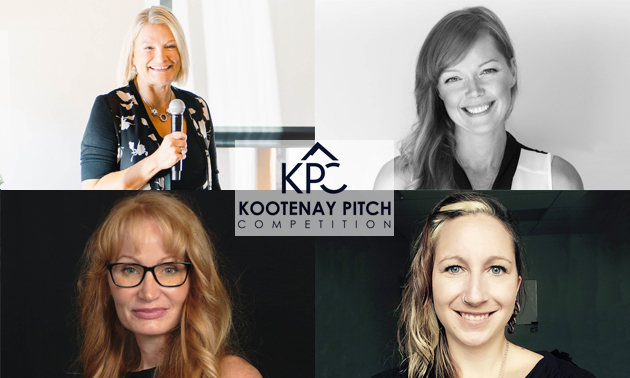 Kootenay Pitch No. 3 was exclusively for women: Top left: Terry Van Horn of SMRT1 Technologies in Nelson was the winner; top right: Adele Hills of Sacral Solutions in Creston; bottom left: Sarah Hobbs of Karma Well in Kimberley; bottom right: pitch organizer Karen Kornelsen.