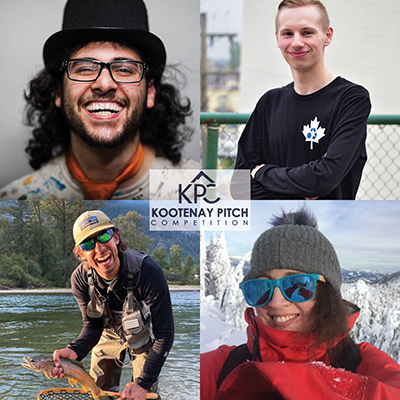 Kootenay Pitch No. 1 competitors: Top left: Sami Majadla of CertiCraft in Nelson was the winner; top right: Myles Peterson of Terracore Plastic Company in Castlegar; bottom left: Cam Shute of Darkhorse Innovations in Nelson; bottom right: this entrepreneur didn't end up pitching as she had to drop out.