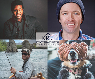 Kootenay Pitch No. 2 competitors: Top left: Wesley Fakrogha of Stuuli in Castlegar; top right: Kyle Hamilton of Sucre Interactive Technologies in Fernie was the winner; bottom left: Dusty Geyer of Continuity Craftworks in Nelson.