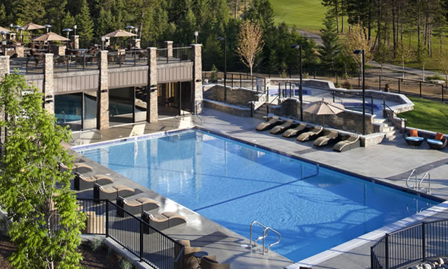 A scenic view of the poolside at the Copper Point Resort in Invermere, BC.