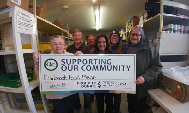 L-R (Jean-Ann Debreceni EKC Board Chair, Gerry Oviatt, Cranbrook Food Bank, Brian Smith Cranbrook Food Bank, Mindy Atti, EKC Branch Manager, Lana Sheppard, EKC Manager Commercial Services and Diane Byford, EKC Board)
