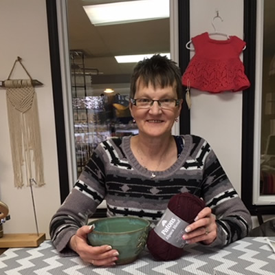 Sharon Silvaggio is one of the partners and owners of Cranbrook Yarn and Gifts