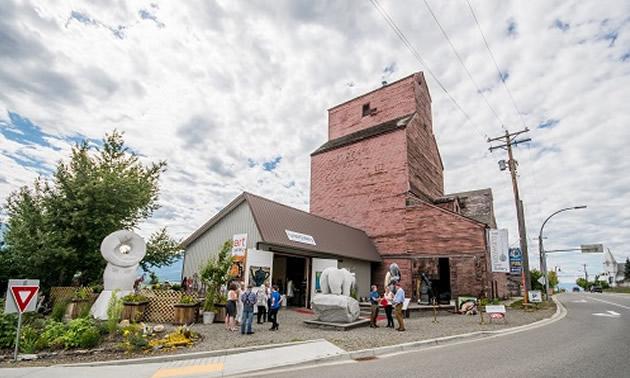 Two grain elevators in Creston, B.C.